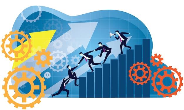 Bedrijfsgroepswerk om samen succes te bereiken Premium Vector