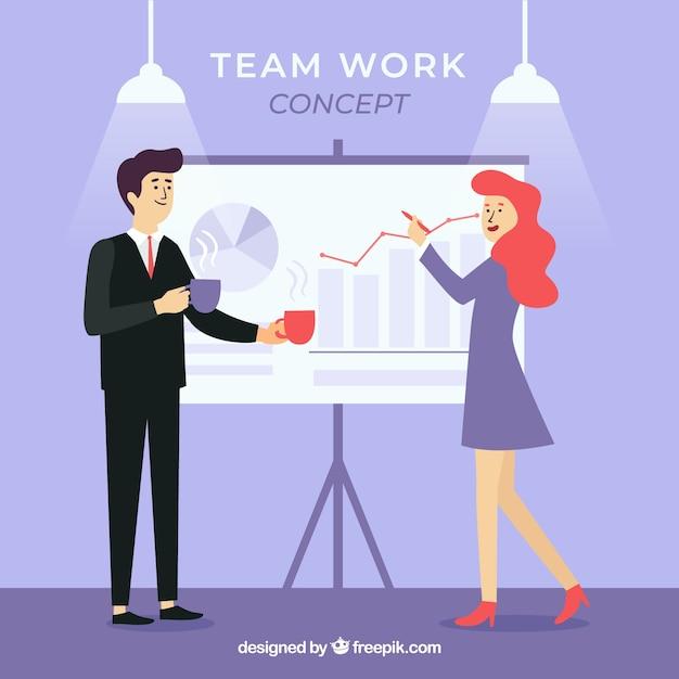 Bedrijfsgroepswerkconcept met vlak ontwerp Gratis Vector