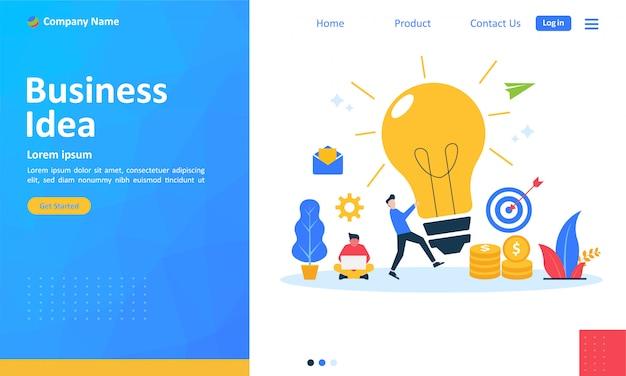 Bedrijfsidee voor webpagina-bestemmingspagina Premium Vector