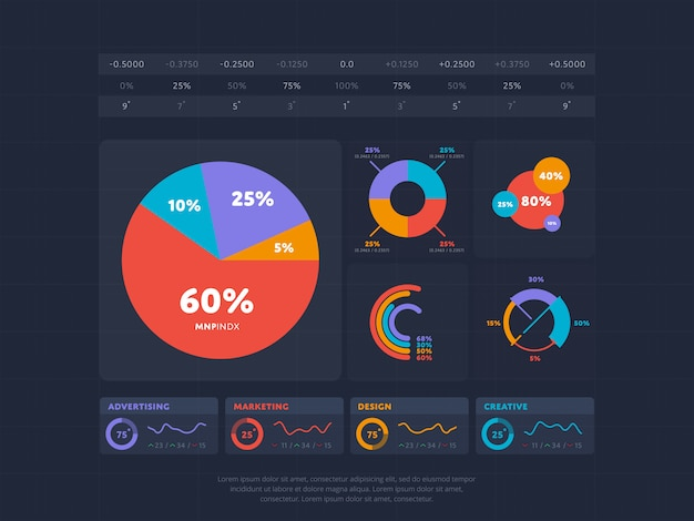 Bedrijfsinfographicsconcept met index vier Premium Vector