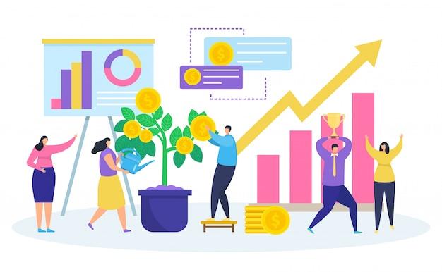 Bedrijfsinvesteringen, cartoon kleine mensen die geldboom planten water geven, investeren, rijkdom op wit vergroten Premium Vector