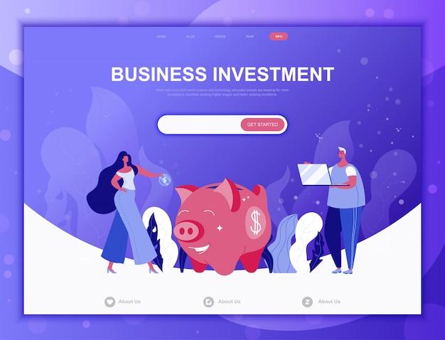 Bedrijfsinvesteringen platte concept, websjabloon bestemmingspagina Premium Vector
