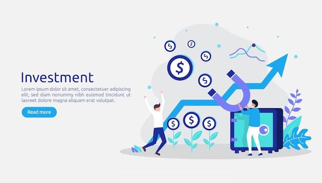 Bedrijfsinvesteringen. rendement op investering grafische grafiek. financiële groei loopt op tot succes Premium Vector