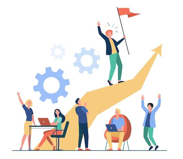 Bedrijfsleider die zich op pijl bevindt en vlag vlakke vectorillustratie houdt. cartoon mensen trainen en businessplan doen. leiderschap, overwinning en uitdaging concept Gratis Vector