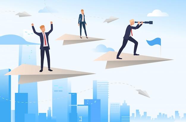 Bedrijfsleiders die zich op papieren vliegtuigen bevinden Gratis Vector