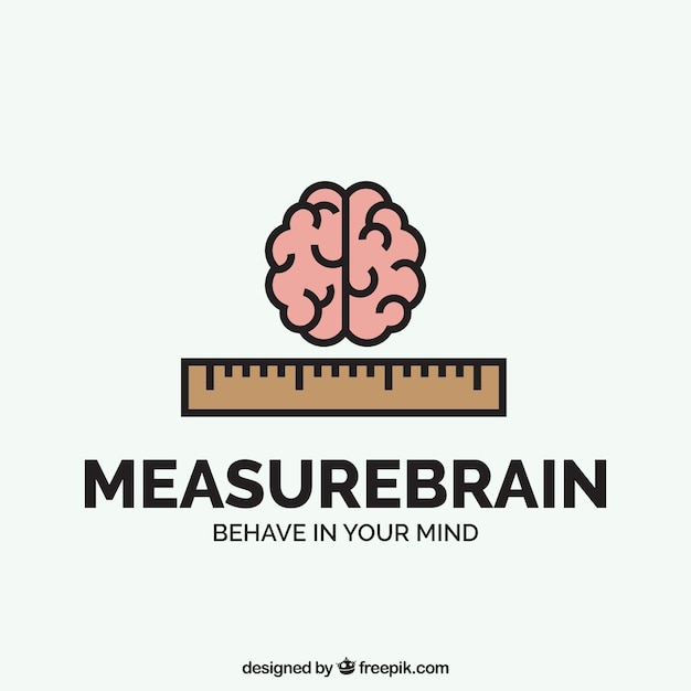 Bedrijfslogo met de hersenen en heerser Gratis Vector