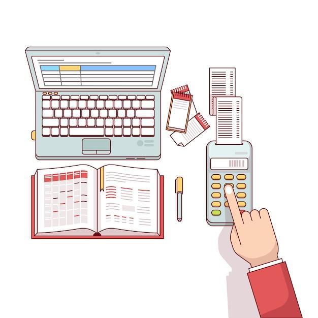 Bedrijfsman planning en berekening van zijn uitgaven Gratis Vector