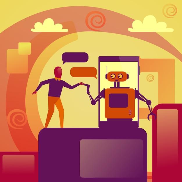 Bedrijfsmens die met chatbot-robot op slimme telefoontechnologie-ondersteuningsconcept babbelen Premium Vector