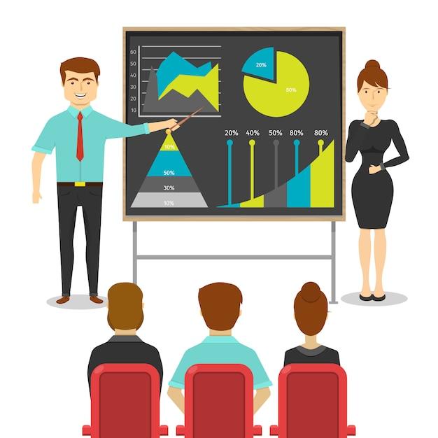 Bedrijfsmensen bij presentatieontwerp van jonge man en vrouw dichtbij raad met digramsstatistieken Gratis Vector