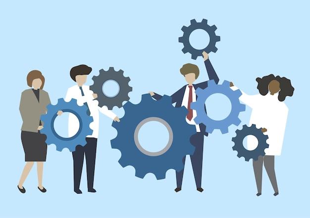 Bedrijfsmensen die aan toestellenillustratie verbinden Gratis Vector