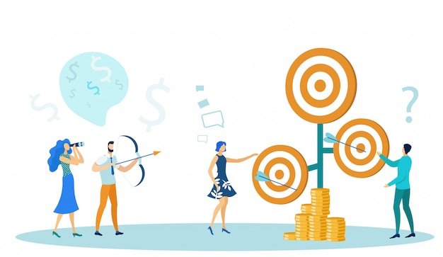 Bedrijfsmensen die boog schieten en geld verdienen. Premium Vector