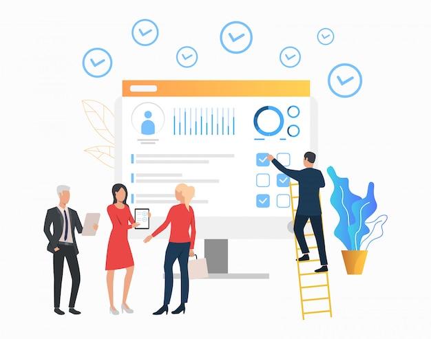 Bedrijfsmensen die document tonen aan cliënt Gratis Vector