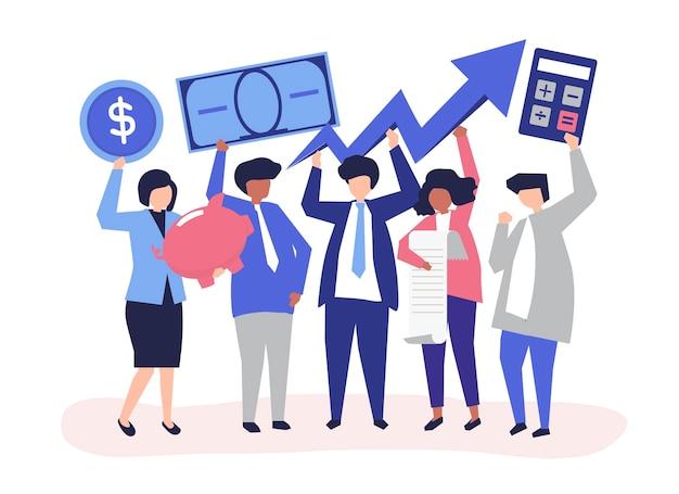 Bedrijfsmensen die financieel de groeiconcept houden Gratis Vector