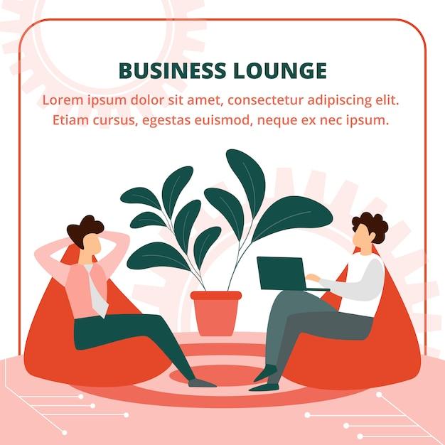 Bedrijfsmensen die in leunstoel in lounge room zitten Premium Vector