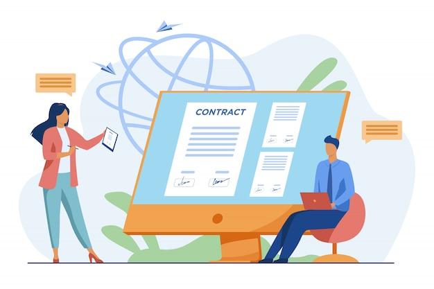 Bedrijfsmensen die online contract met elektronisch teken ondertekenen Gratis Vector