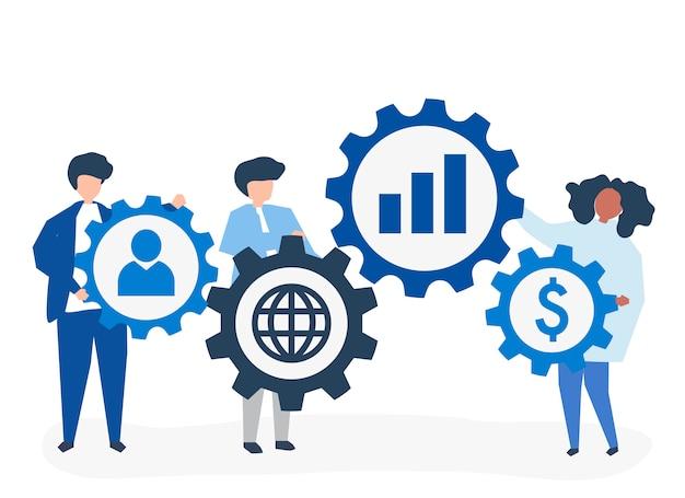 Bedrijfsmensen die strategiepictogrammen houden Gratis Vector