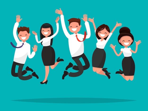 Bedrijfsmensen die vierend overwinningsillustratie springen Premium Vector