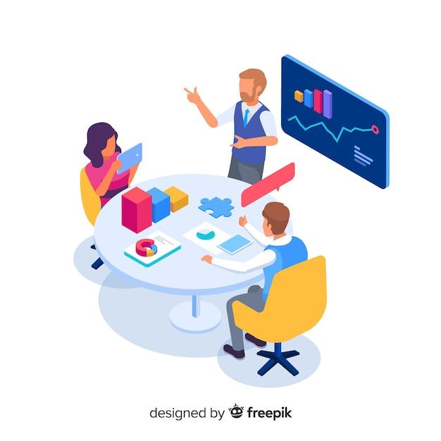 Bedrijfsmensen in een vergaderings isometrische illustratie Gratis Vector