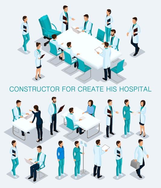 Bedrijfsmensen isometrische reeks om zijn illustratiesoverleg in het ziekenhuis te creëren Premium Vector