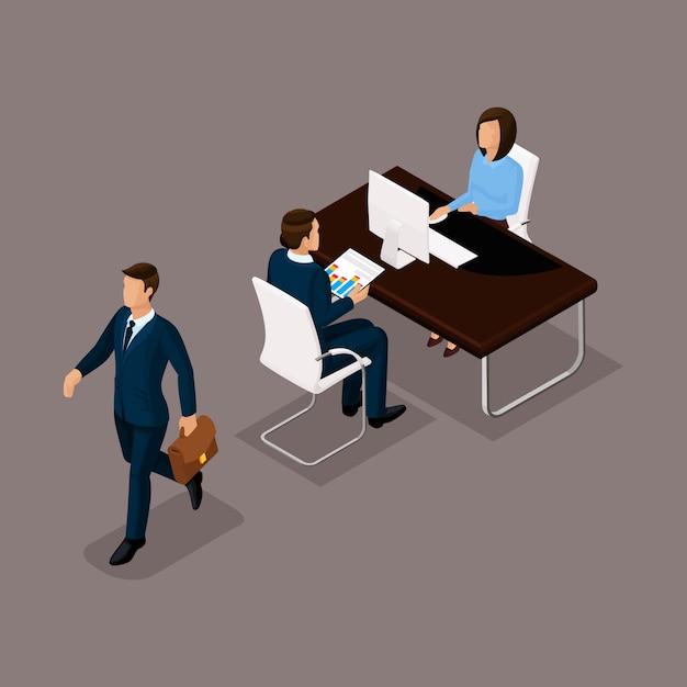 Bedrijfsmensen isometrische reeks vrouwen met mannen, praatje, een gesprek in een bureau dat tegen een donkere achtergrond wordt geïsoleerd Premium Vector