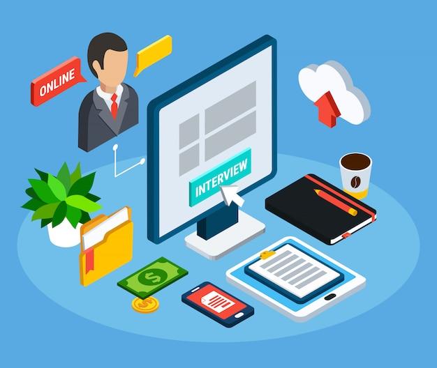 Bedrijfsmensen isometrische samenstelling van geïsoleerde pictogrammen en kantoorapparatuurbeelden met computer en menselijke avatar vectorillustratie Gratis Vector