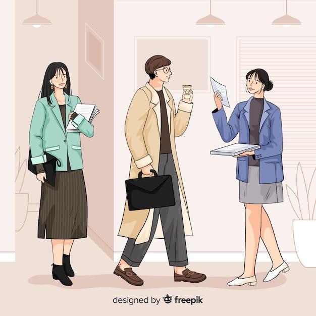 Bedrijfsmensen op het kantoor in koreaanse illustratie Gratis Vector