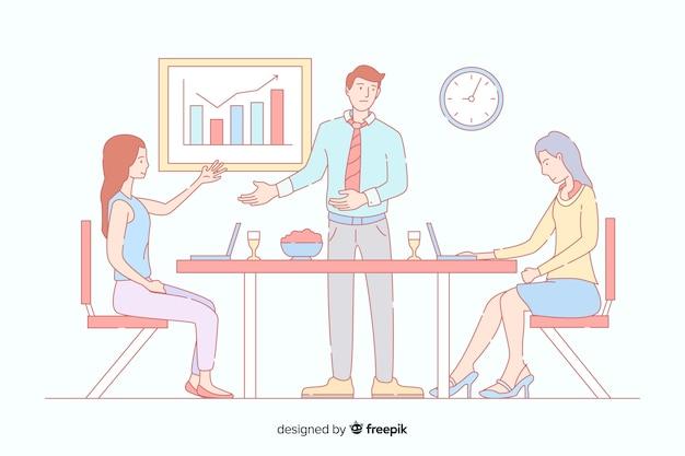 Bedrijfsmensen op het kantoor in koreaanse tekeningsstijl Gratis Vector