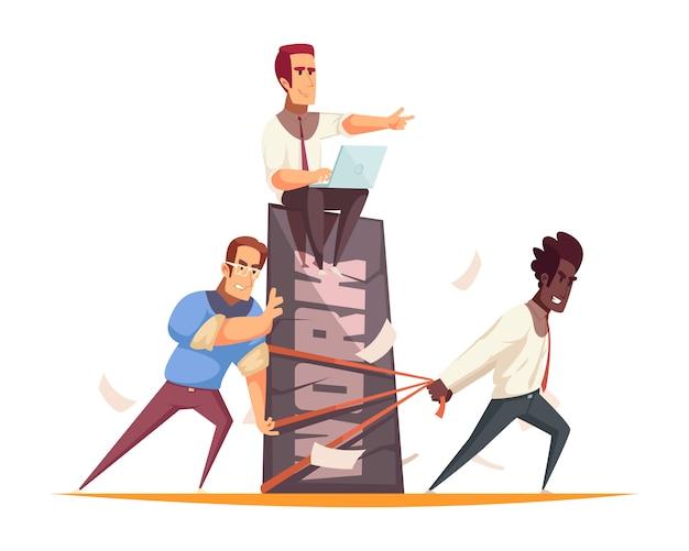 Bedrijfsmensenconcept met team van medewerkers die het harde werk onder leiding van werkgever uitvoeren Gratis Vector