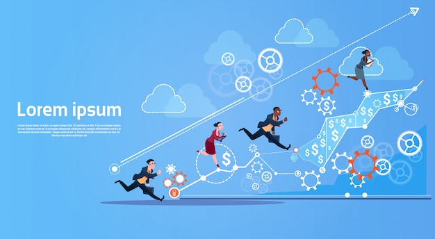 Bedrijfsmensengroep run team finance graph competition concept Premium Vector
