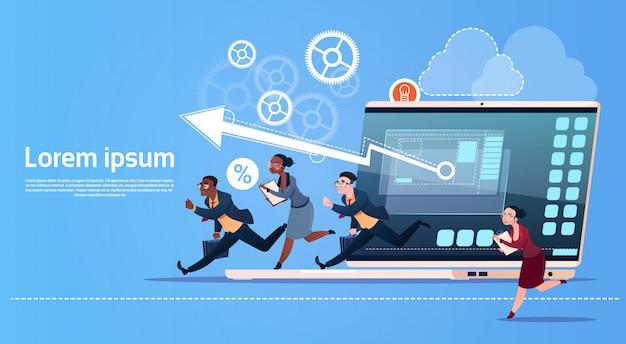 Bedrijfsmensengroep run team finance graph competition concept Premium Vector