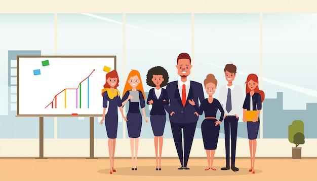 Bedrijfsmensengroepswerk in het voorstellen van whiteboard. Premium Vector
