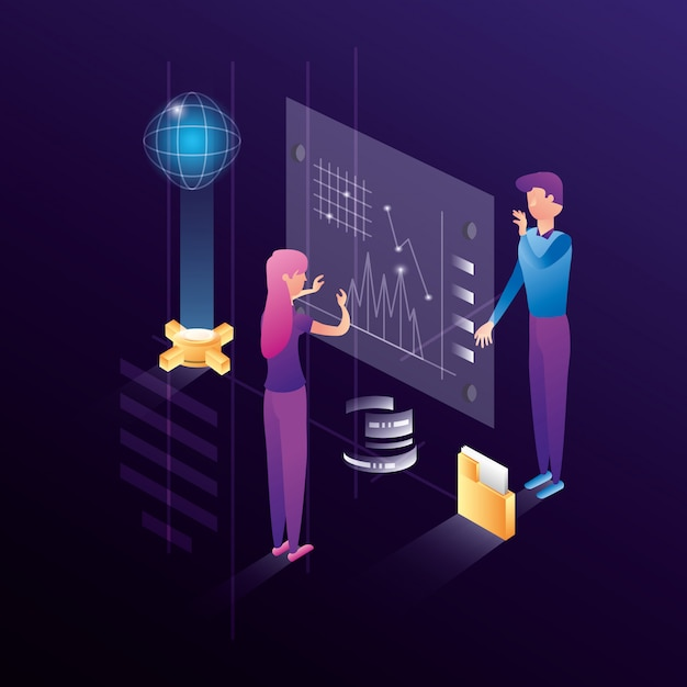 Bedrijfspaar met datacenter netwerkpictogrammen Premium Vector