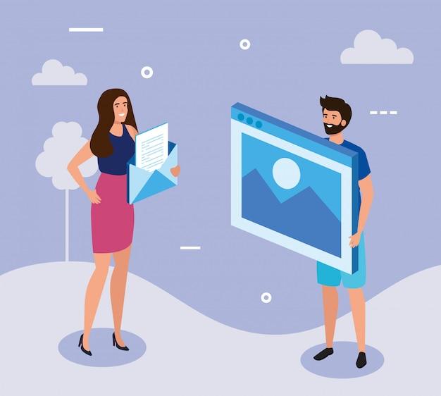 Bedrijfspaar met web-pagina en envelop Gratis Vector