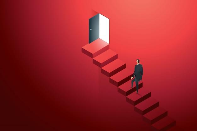 Bedrijfspersoon die op concreet ledder bij deurzwarte beklimmen op muurrood op wegladder aan doelsucces. illustratie Premium Vector