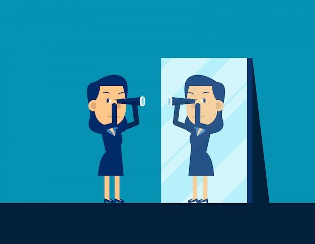 Bedrijfspersoon die telescoop kijken en in spiegel nadenken Premium Vector