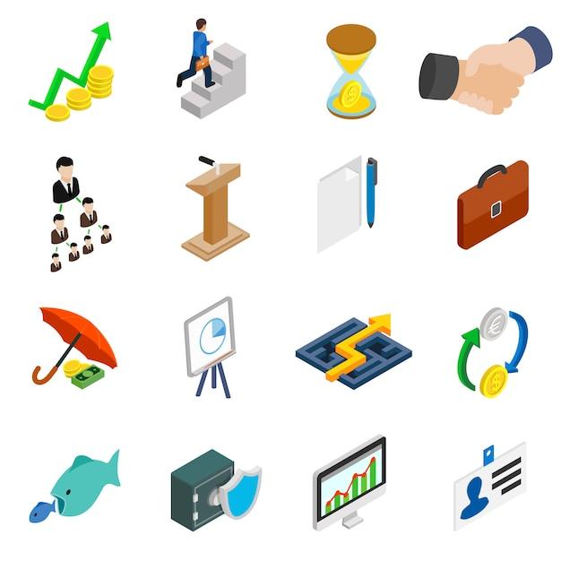 Bedrijfspictogrammen die in isometrische 3d stijl op wit worden geplaatst Premium Vector