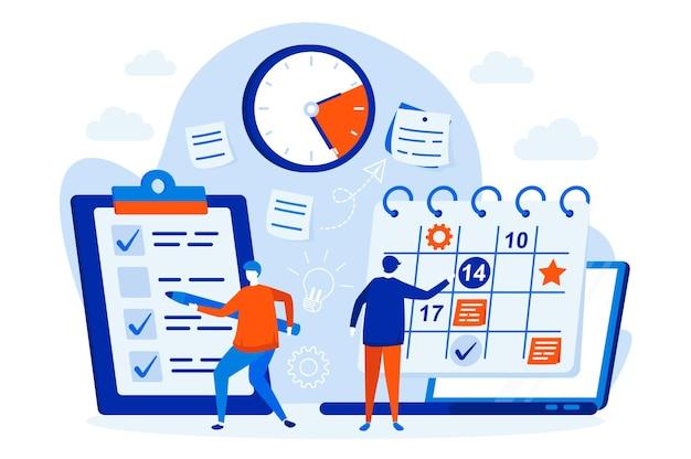 Bedrijfsplanning webontwerpconcept met de illustratie van mensenkarakters Premium Vector