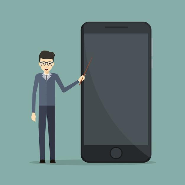 Bedrijfspreker in mobiele technologie die op een celtelefoon richten Premium Vector