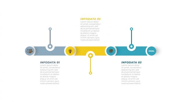 Bedrijfsproces. tijdlijn infographic met marketing pictogram en stap, optie. Premium Vector
