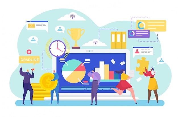 Bedrijfsprocesbeheer, cartoon kleine mensen arbeiders, het oplossen van werktaken in data-analyse op wit Premium Vector