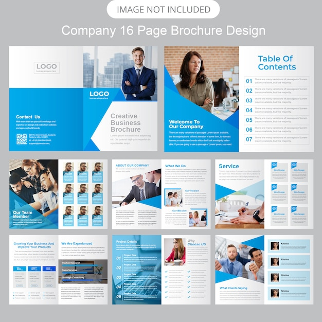Bedrijfsprofiel brochure sjabloon Premium Vector
