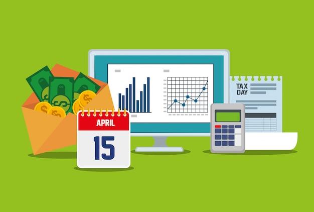 Bedrijfsstatistiekenbalk met datafoon en factuur Gratis Vector