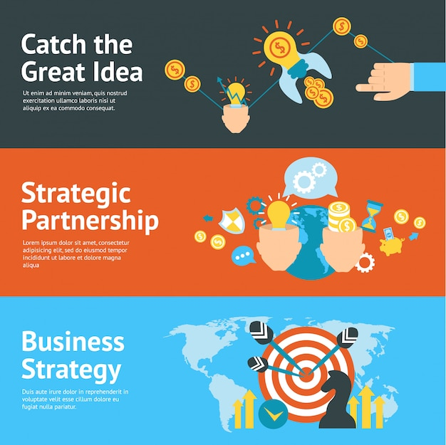 Bedrijfsstrategie analyse concept banners set Gratis Vector