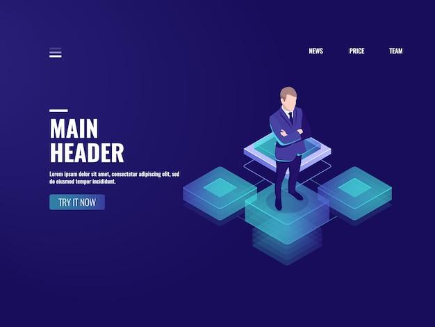 Bedrijfstechnologie, pictogram voor online bankieren, cryptocurrency, zakenman blijven op platform Gratis Vector