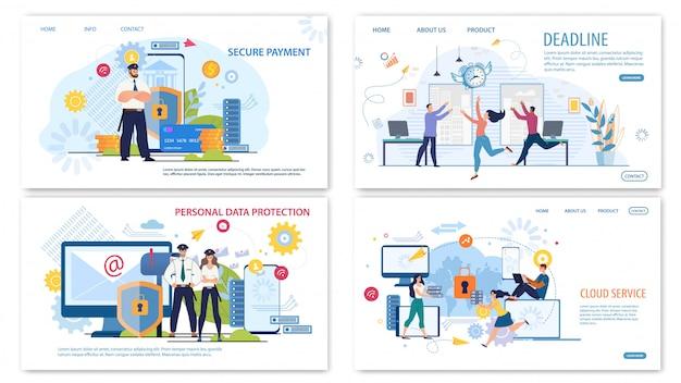 Bedrijfstechnologieën platte webbanners instellen Premium Vector