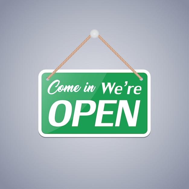 Bedrijfsteken dat zegt: come in, we're open Premium Vector