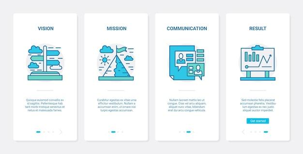 Bedrijfsvisie op resultaat, missie en leiderschapsstrategie Premium Vector