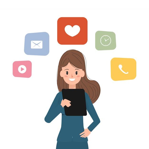 Bedrijfsvrouw die een tablet gebruiken aan mededeling. Premium Vector