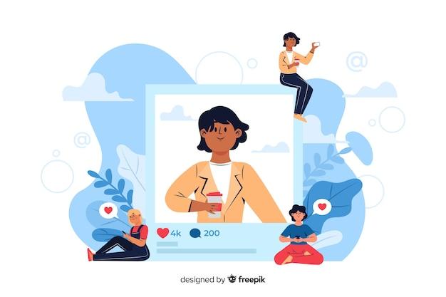 Bedrijfsvrouw die met koffie een foto posten op internet Gratis Vector