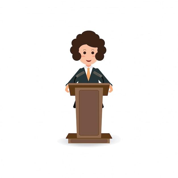 Bedrijfsvrouw die zich aan het spreken en presentatie op podium bevinden. Premium Vector